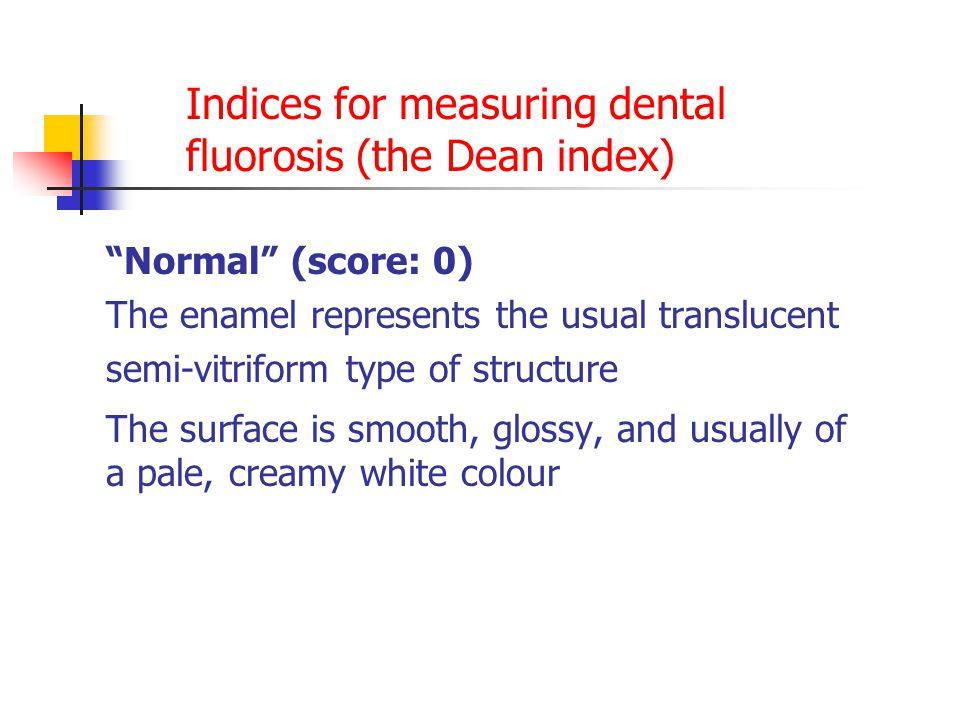 Indices for measuring dental fluorosis (the Dean index)