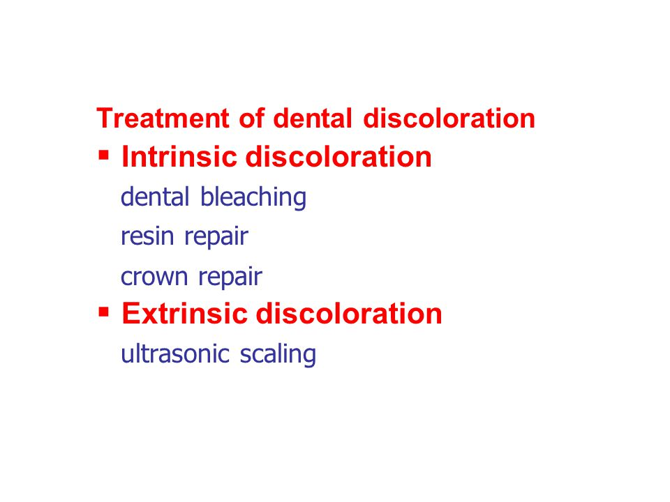 Intrinsic discoloration dental bleaching