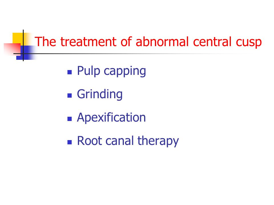 The treatment of abnormal central cusp