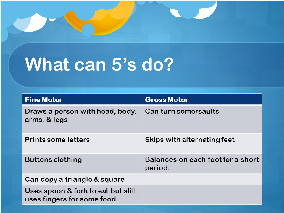 What can 5's do Fine Motor Gross Motor