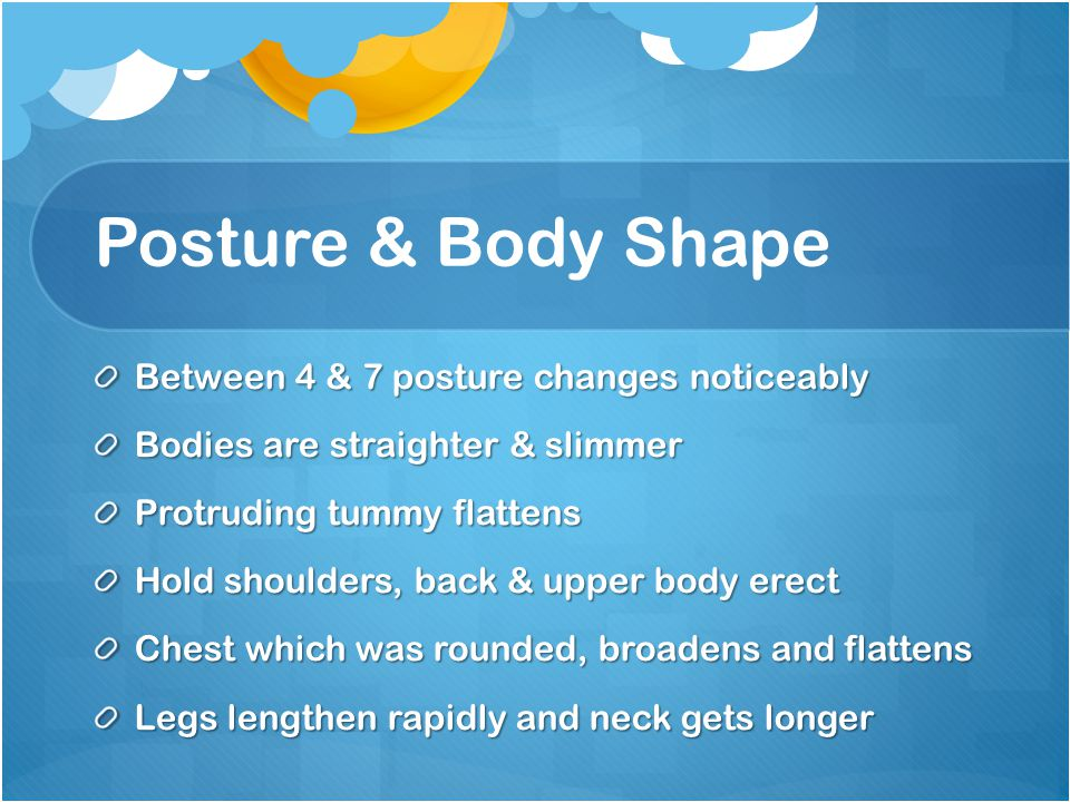 Posture & Body Shape Between 4 & 7 posture changes noticeably