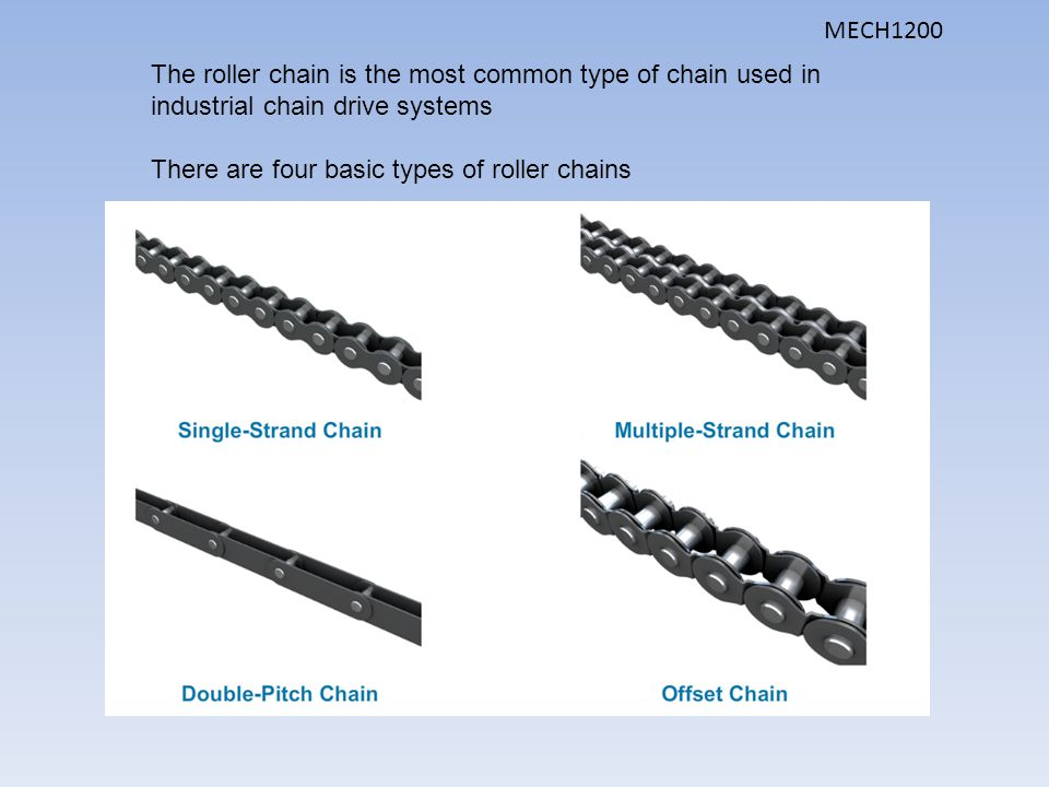 MECH1200 The roller chain is the most common type of chain used in industrial chain drive systems.