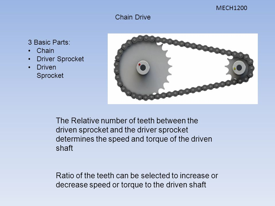 MECH1200 Chain Drive. 3 Basic Parts: Chain. Driver Sprocket. Driven Sprocket.