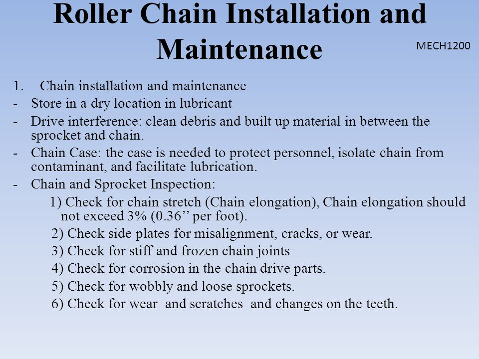 Roller Chain Installation and Maintenance