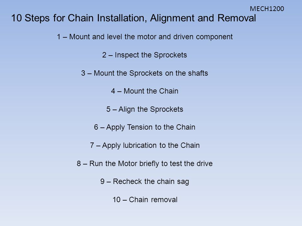10 Steps for Chain Installation, Alignment and Removal