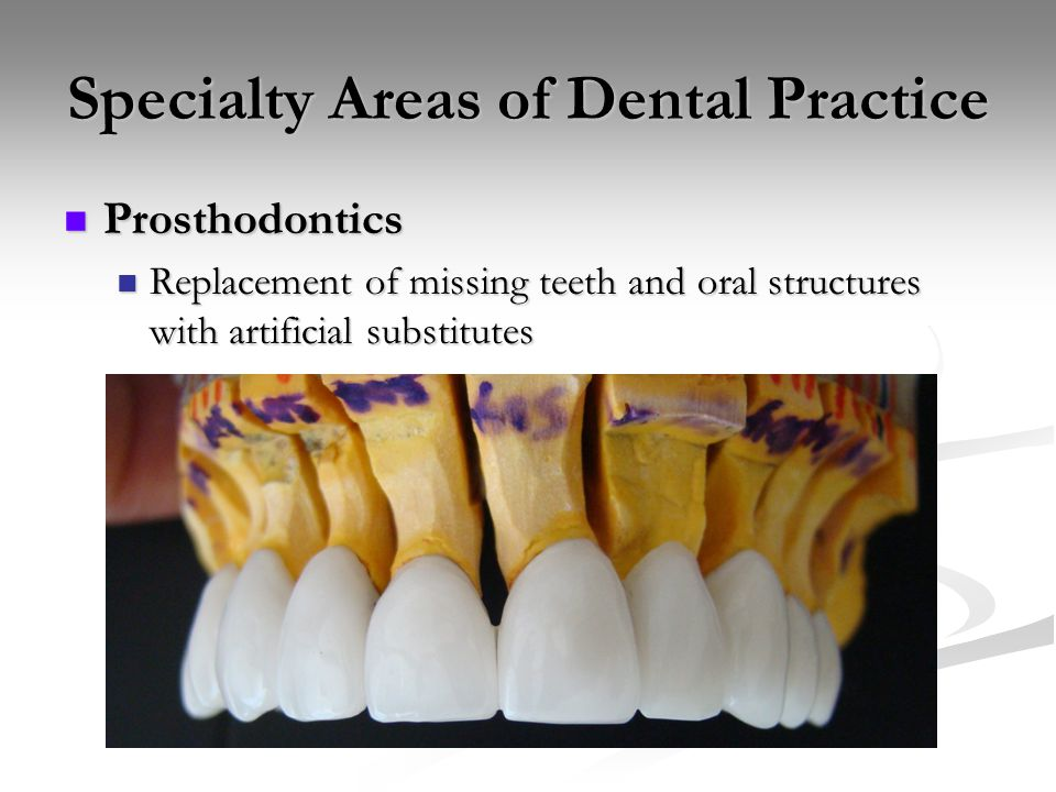Specialty Areas of Dental Practice