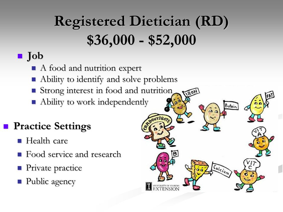 Registered Dietician (RD) $36,000 - $52,000