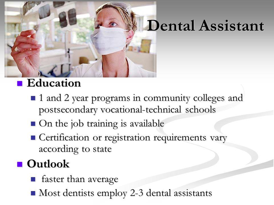 Dental Assistant Education Outlook