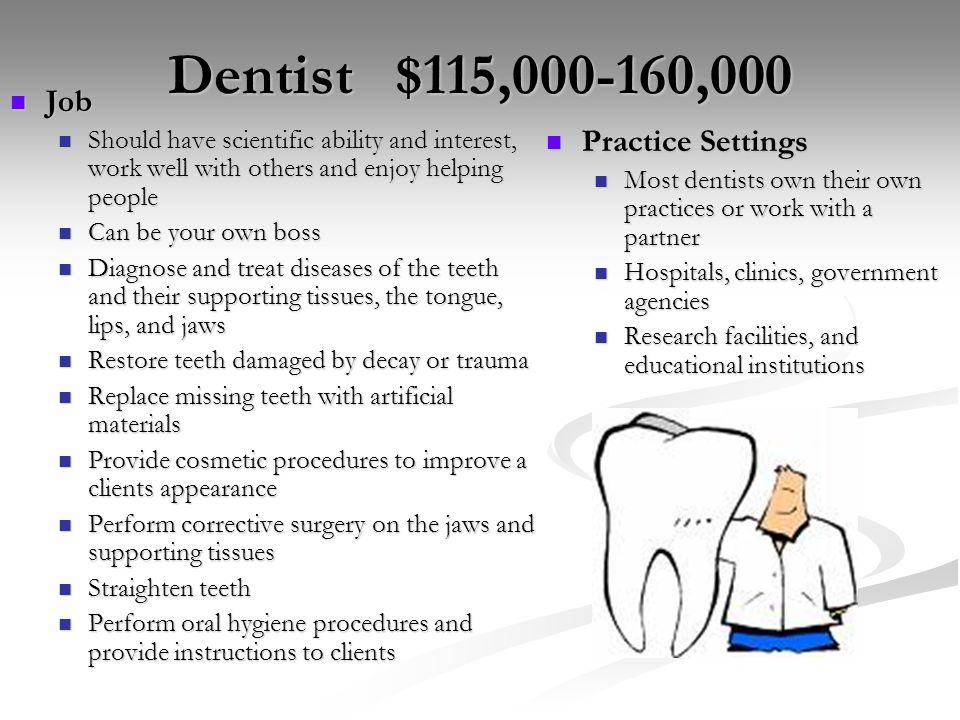 Dentist $115,000-160,000 Job Practice Settings