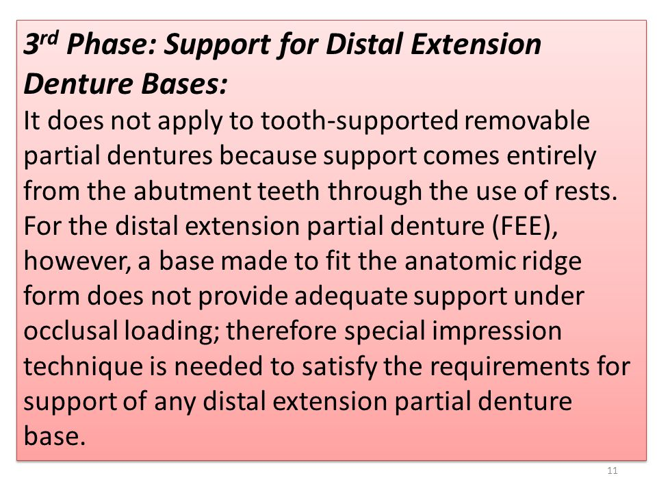 3rd Phase: Support for Distal Extension Denture Bases: