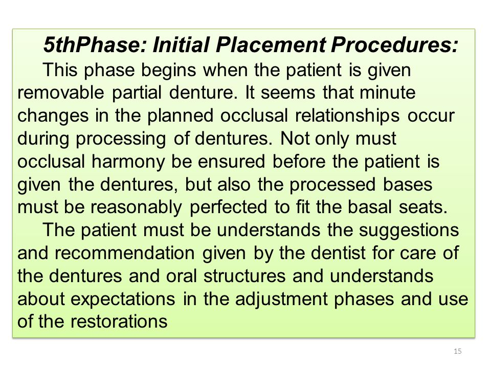 5thPhase: Initial Placement Procedures: