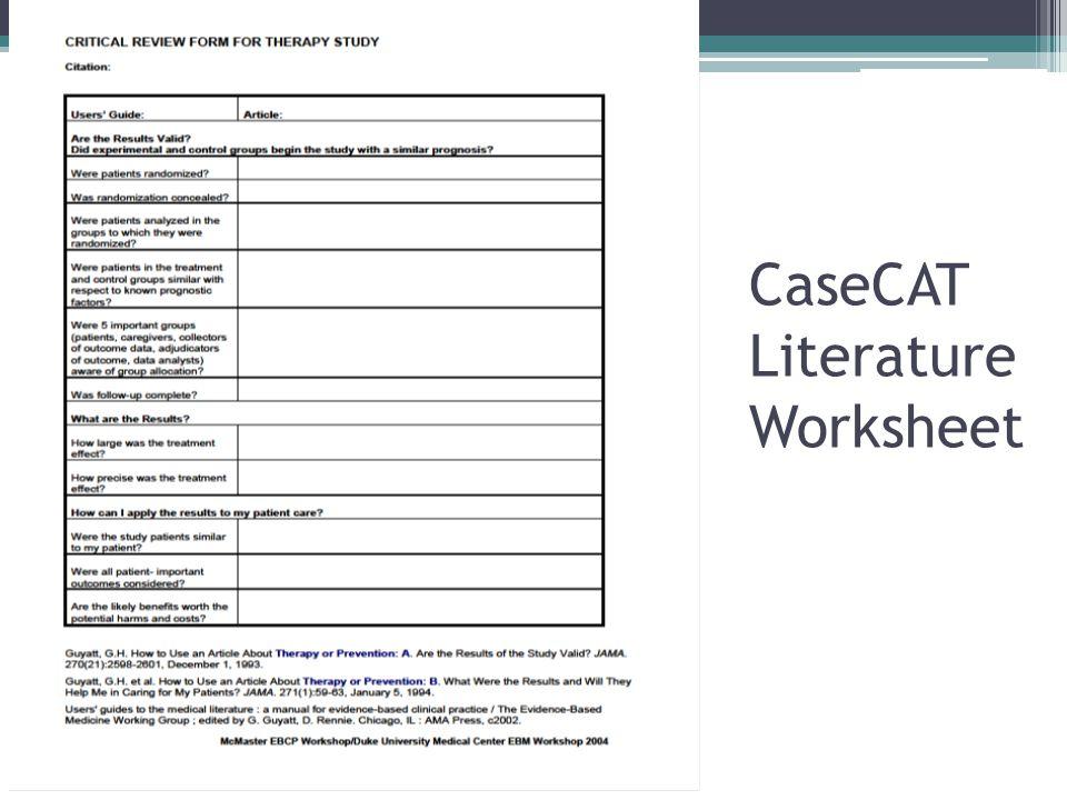 CaseCAT Literature Worksheet