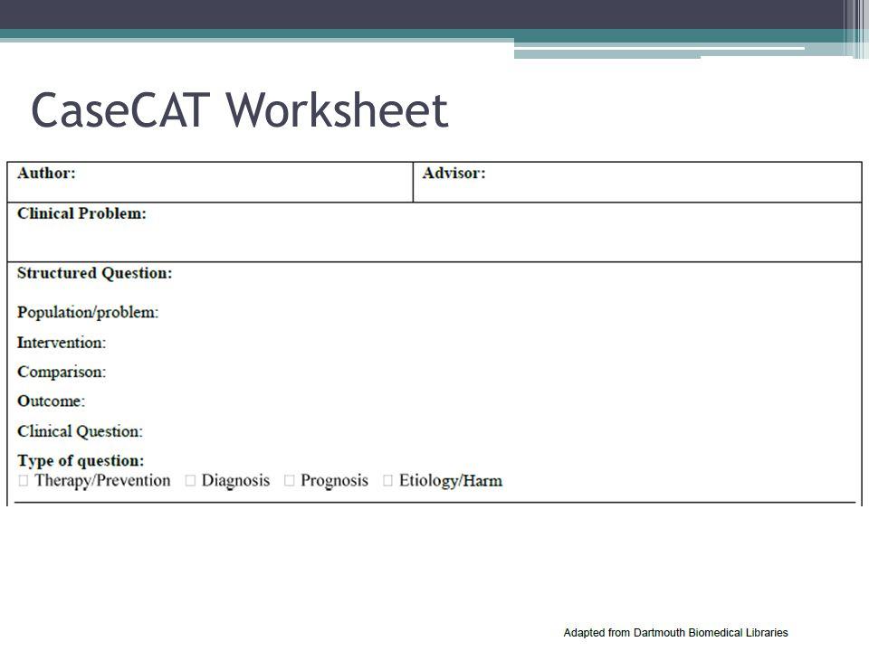 CaseCAT Worksheet