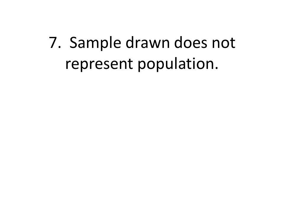 7. Sample drawn does not represent population.