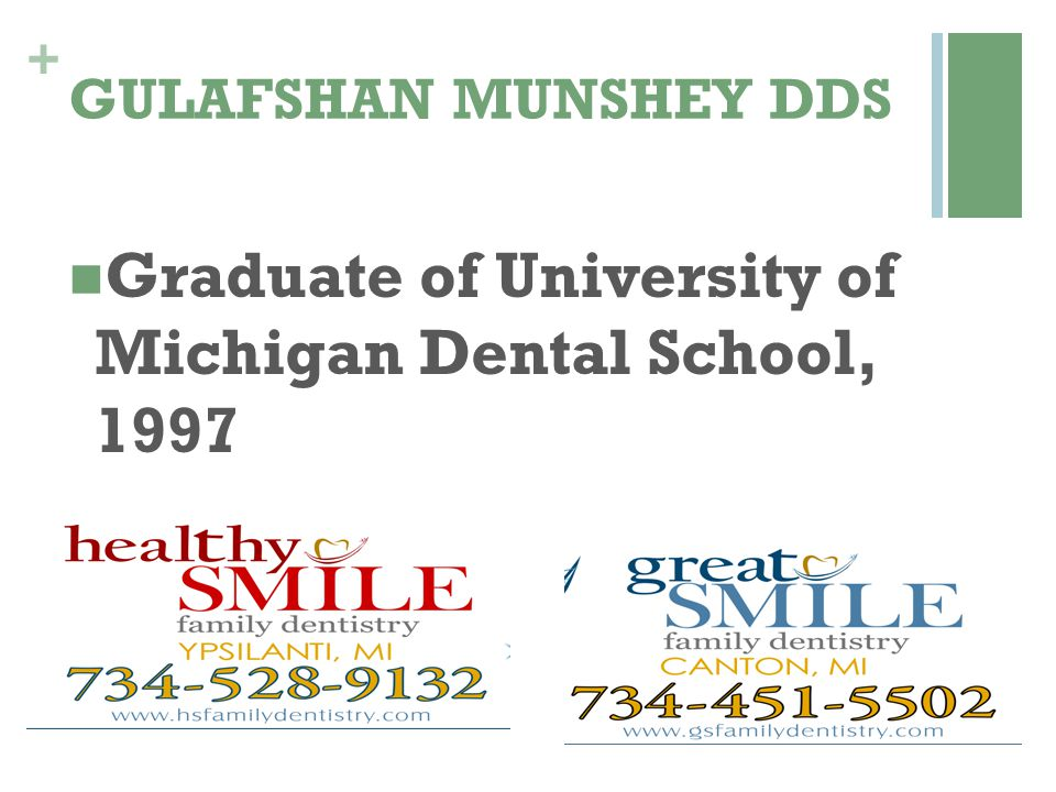 Graduate of University of Michigan Dental School, 1997