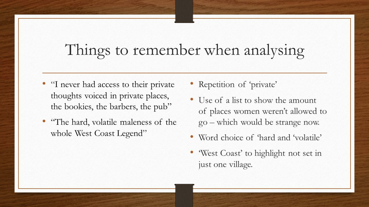 Things to remember when analysing