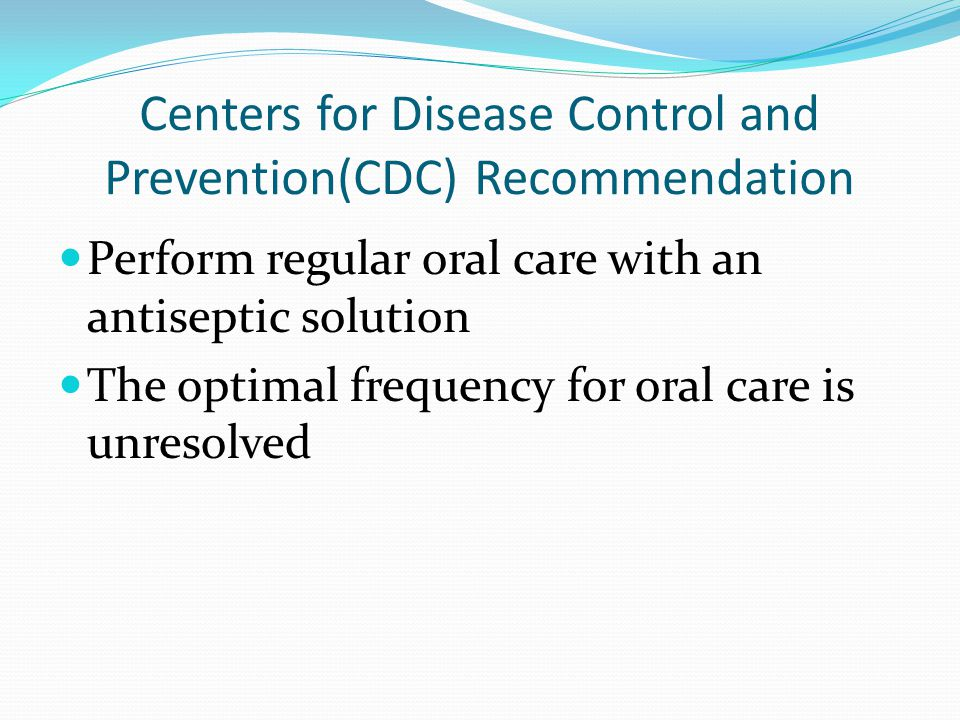 Centers for Disease Control and Prevention(CDC) Recommendation