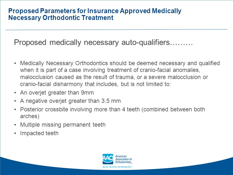 Proposed medically necessary auto-qualifiers………