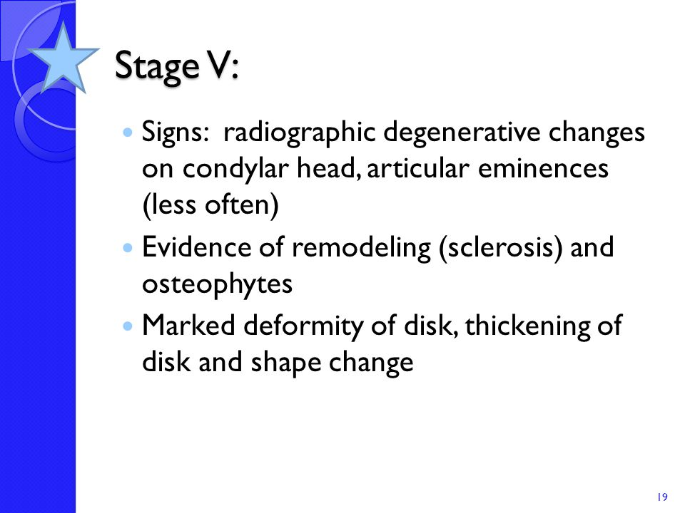 Stage V: Signs: radiographic degenerative changes on condylar head, articular eminences (less often)