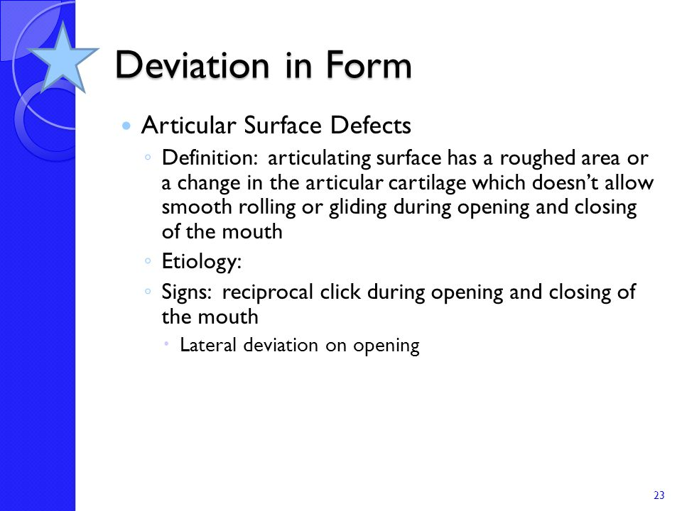Deviation in Form Articular Surface Defects