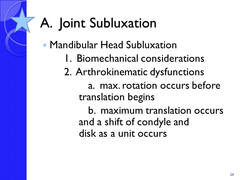 A. Joint Subluxation Mandibular Head Subluxation