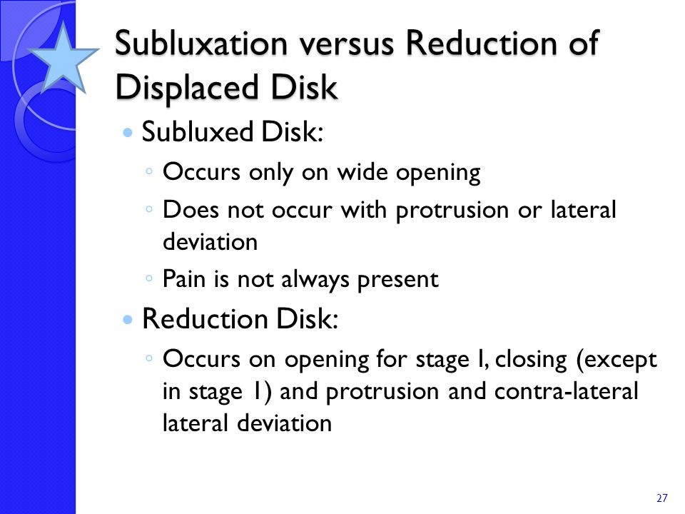 Subluxation versus Reduction of Displaced Disk