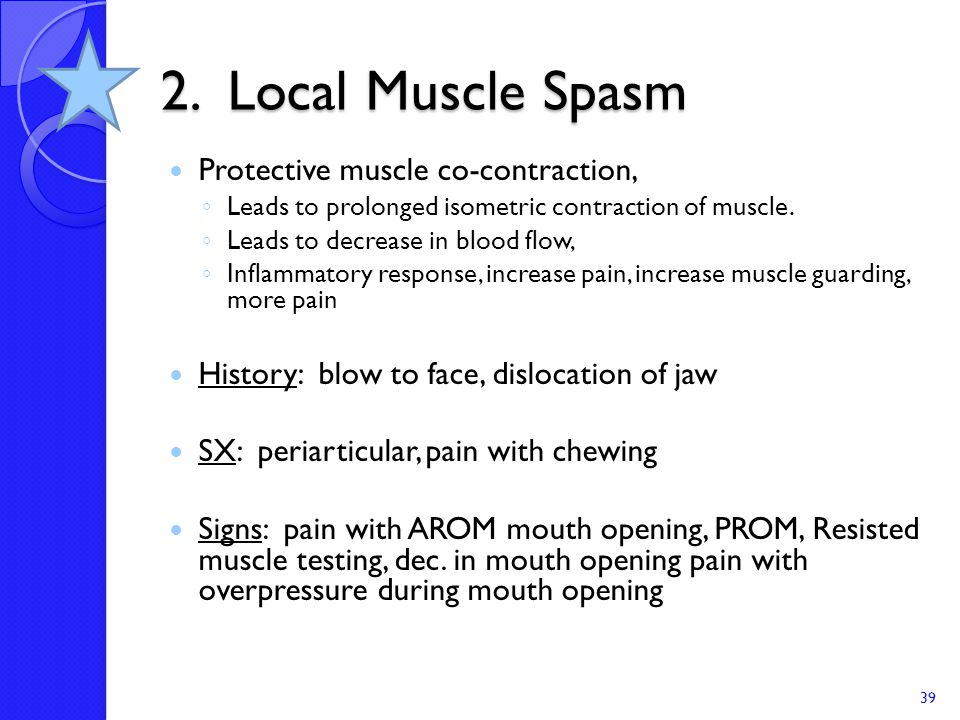 2. Local Muscle Spasm Protective muscle co-contraction,