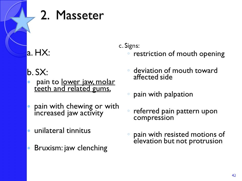 2. Masseter c. Signs: restriction of mouth opening. deviation of mouth toward affected side. pain with palpation.