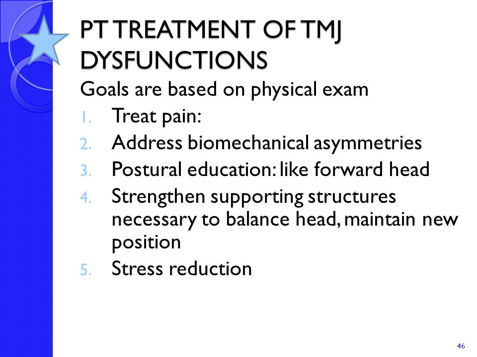 PT TREATMENT OF TMJ DYSFUNCTIONS