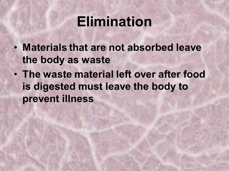 Elimination Materials that are not absorbed leave the body as waste