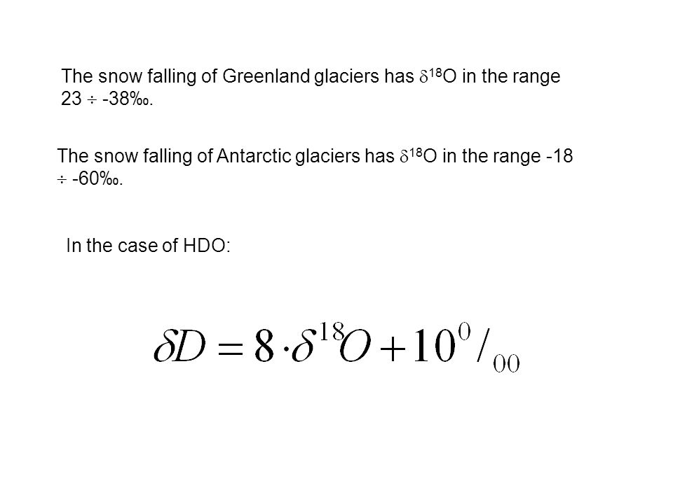 The snow falling of Greenland glaciers has 18O in the range