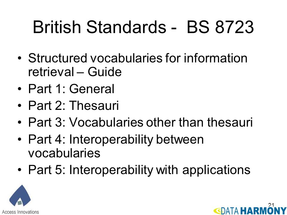 British Standards - BS 8723 Structured vocabularies for information retrieval – Guide. Part 1: General.