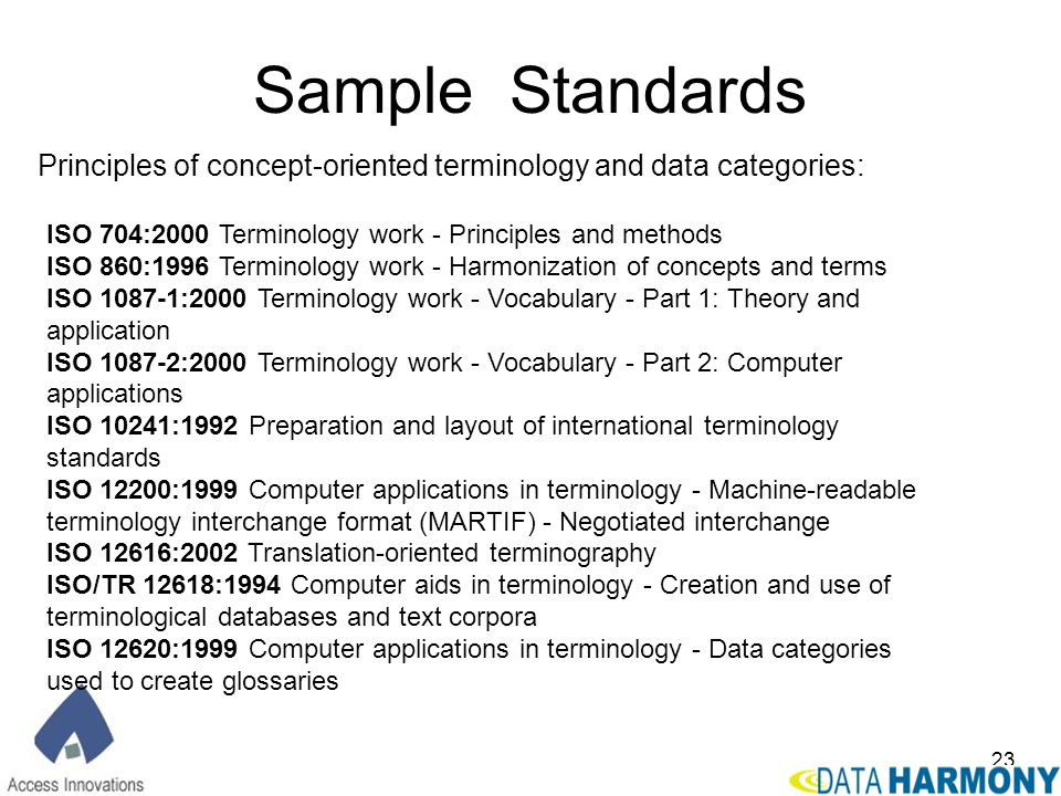 Sample Standards Principles of concept-oriented terminology and data categories: