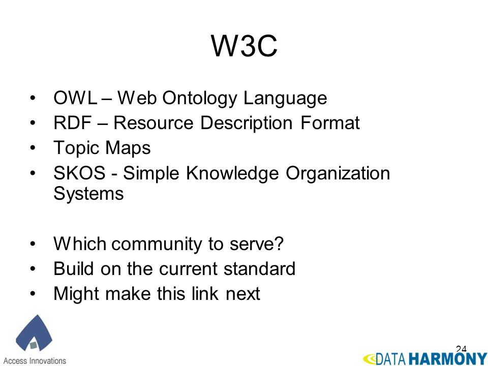 W3C OWL – Web Ontology Language RDF – Resource Description Format