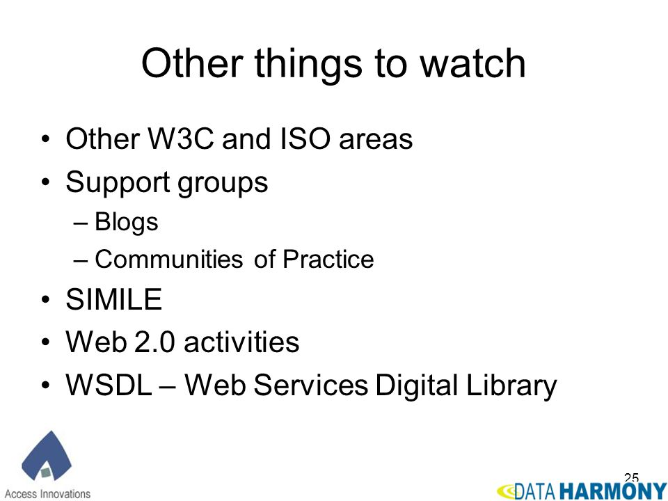 Other things to watch Other W3C and ISO areas Support groups SIMILE
