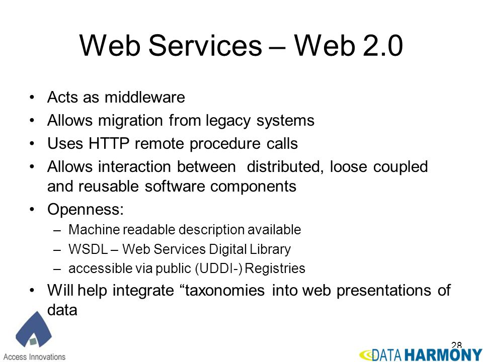 Web Services – Web 2.0 Acts as middleware