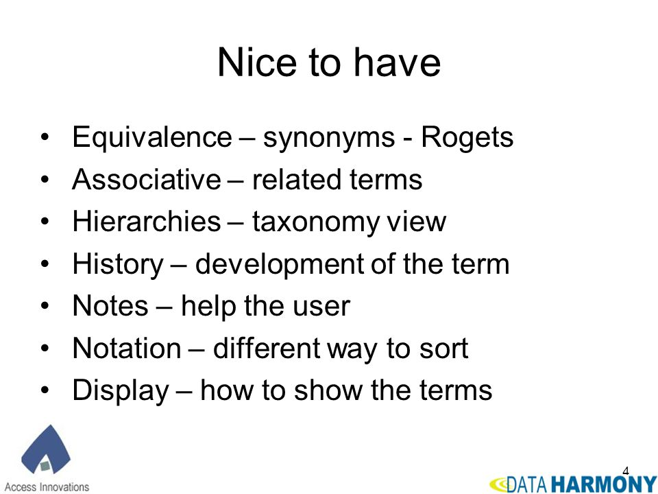 Nice to have Equivalence – synonyms - Rogets