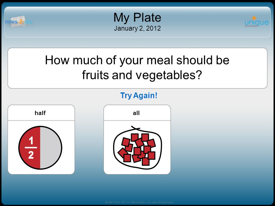 How much of your meal should be fruits and vegetables