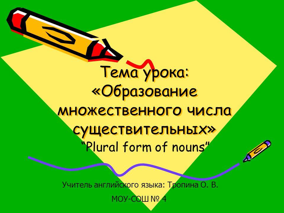 Тема урока: «Образование множественного числа существительных»