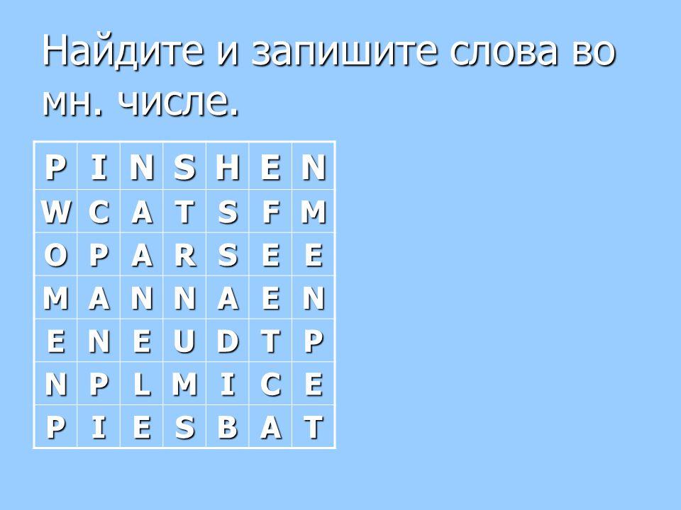 Найдите и запишите слова во мн. числе.