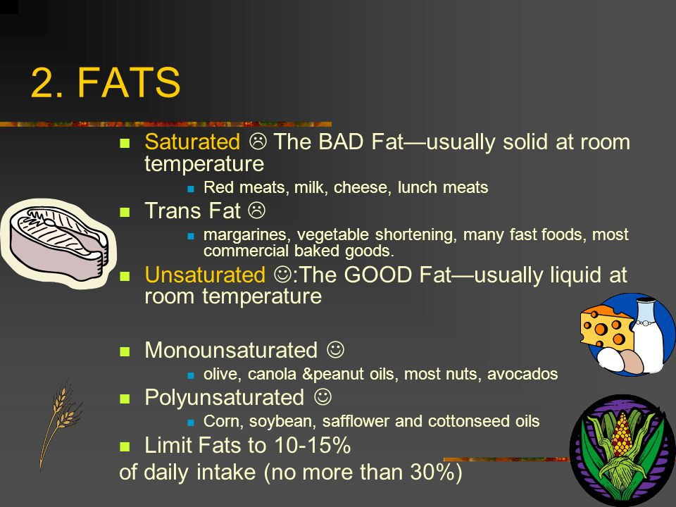 2. FATS Saturated  The BAD Fat—usually solid at room temperature