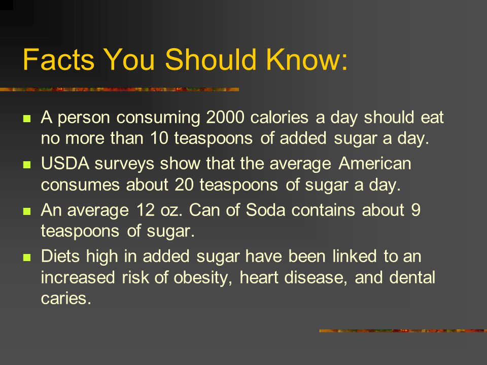 Facts You Should Know: A person consuming 2000 calories a day should eat no more than 10 teaspoons of added sugar a day.