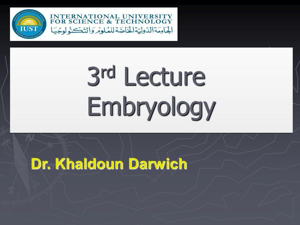3rd Lecture Embryology Dr. Khaldoun Darwich