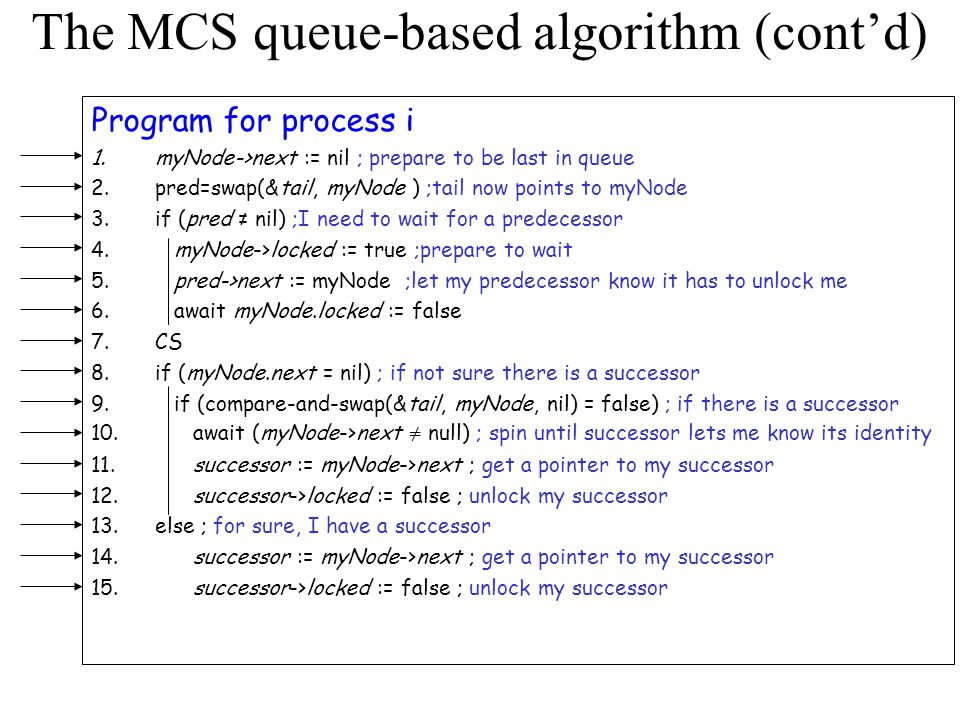 The MCS queue-based algorithm (cont'd)