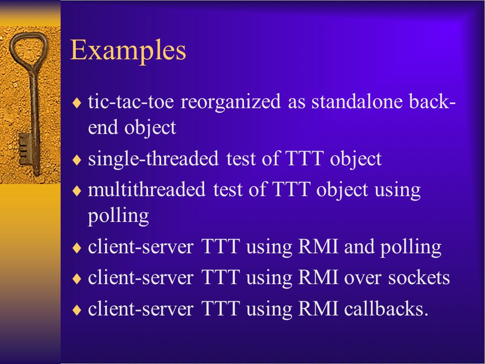 Examples tic-tac-toe reorganized as standalone back-end object