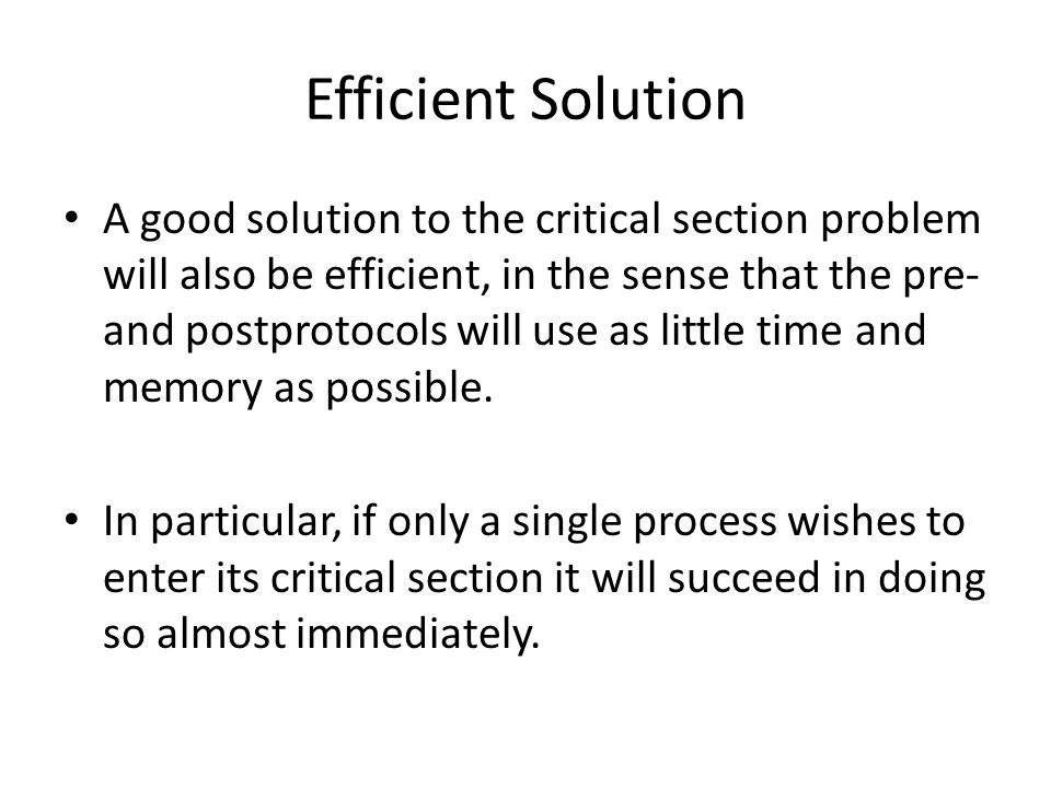 Efficient Solution