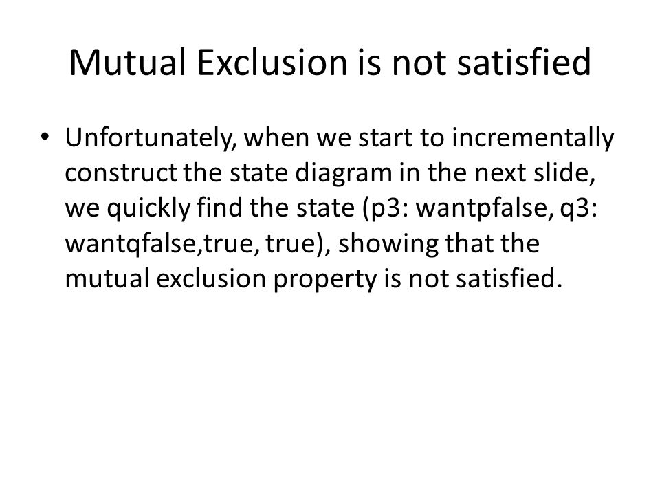 Mutual Exclusion is not satisfied
