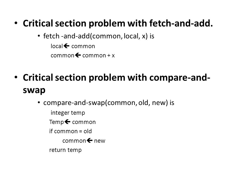 Critical section problem with fetch-and-add.