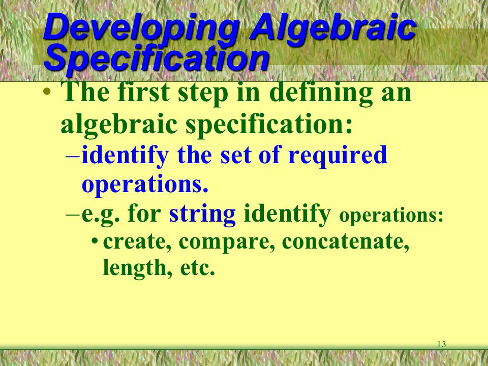 Developing Algebraic Specification