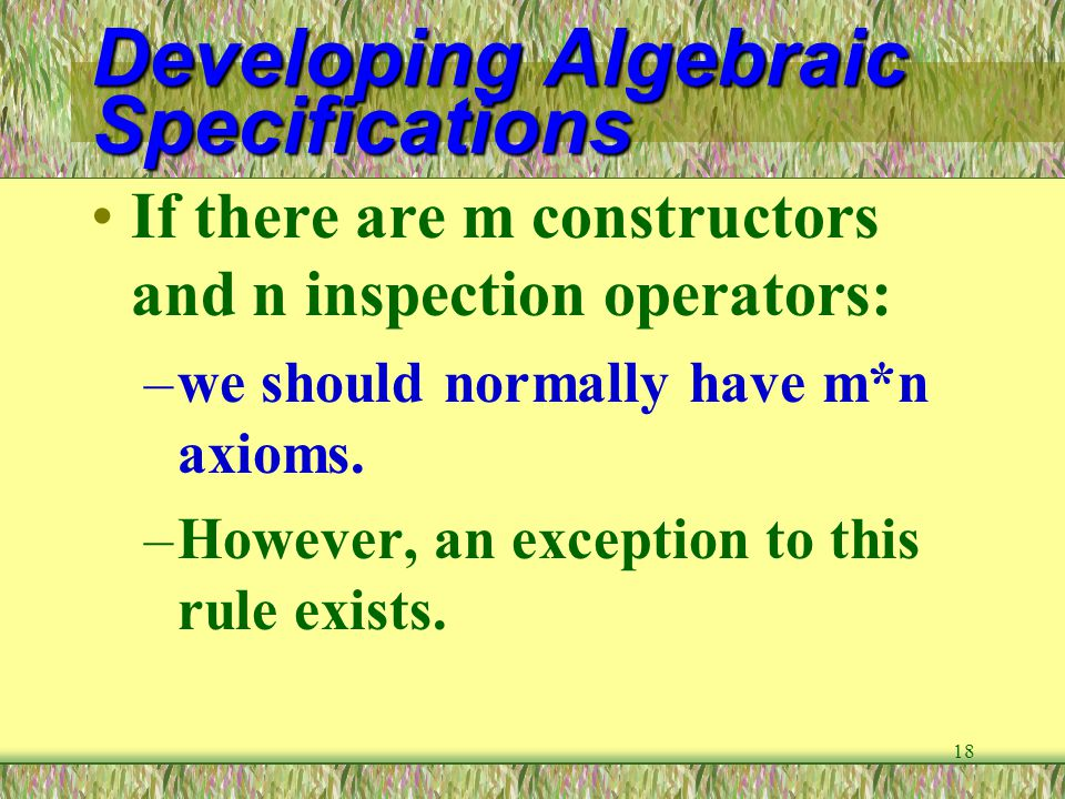 Developing Algebraic Specifications